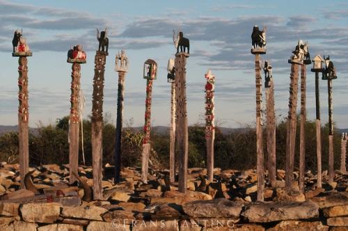 Mahafaly tomb sculptures near Tulear, Southern Madagascar